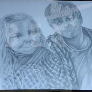 brother and sister pencil artwork
