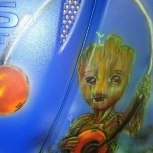 groot airbrush design over blue liquid wrap
